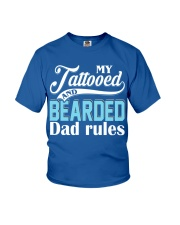 Tattooed and bearded Dad rules Youth T-Shirt front