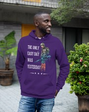 Only Easy Day Was Yesterday For A Veteran Hooded Sweatshirt apparel-hooded-sweatshirt-lifestyle-front-18