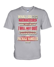 Package Handler - What I do Job Title V-Neck T-Shirt tile