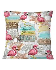 Flamingo - Sand Beach Relax Square Pillowcase tile