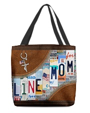 Lineman Mom Leather Effect Printing  All-over Tote front