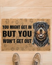 """Rottweiler You Might Get In But You Won'T Get Out  Doormat 22.5"""" x 15""""  aos-doormat-22-5x15-lifestyle-front-02"""