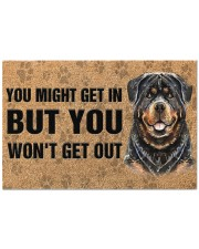 """Rottweiler You Might Get In But You Won'T Get Out  Doormat 22.5"""" x 15""""  front"""