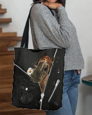 Horse Black Leather All-over Tote aos-all-over-tote-lifestyle-front-09