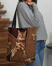 Bengal Cat Leather All-over Tote aos-all-over-tote-lifestyle-front-09