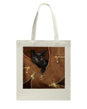 Black Cat Feather Tote Bag tile