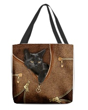 Black Cat Feather All-over Tote front