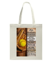 Softball Life Will Always Throw Curves Tote Bag tile
