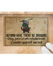 """Cat Sword Beyond Here There Be Dragons  Doormat 22.5"""" x 15""""  aos-doormat-22-5x15-lifestyle-front-05"""