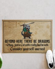 """Cat Sword Beyond Here There Be Dragons  Doormat 22.5"""" x 15""""  aos-doormat-22-5x15-lifestyle-front-06"""
