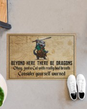 """Cat Sword Beyond Here There Be Dragons  Doormat 22.5"""" x 15""""  aos-doormat-22-5x15-lifestyle-front-07"""