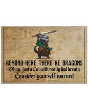 """Cat Sword Beyond Here There Be Dragons  Doormat 22.5"""" x 15""""  front"""