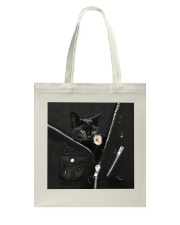 Black Cat Black Leather Tote Bag tile