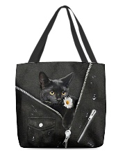 Black Cat Black Leather All-over Tote back