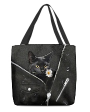 Black Cat Black Leather All-over Tote front