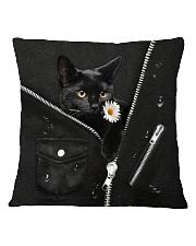 Black Cat Black Leather Square Pillowcase tile