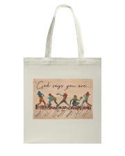 God Says You Are Softbal Tote Bag tile