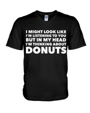 I'm thinking about donuts V-Neck T-Shirt tile