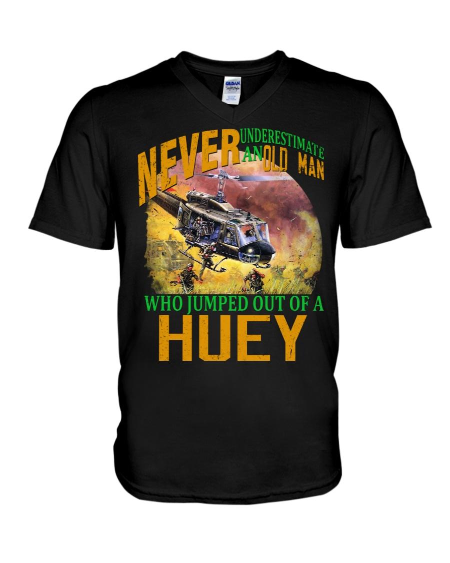 NEVER UNDERESTIMATE AN OLD MAN V-Neck T-Shirt