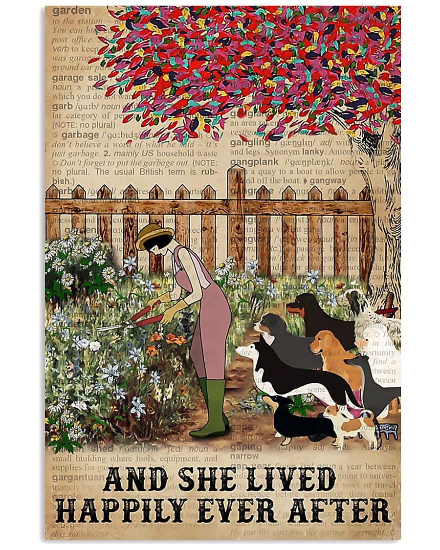 Garden Girl and dogs and she lived happily ever af 11x17 Poster