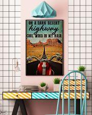 Biker on a dark desert highway cool wind in my hai 11x17 Poster lifestyle-poster-6