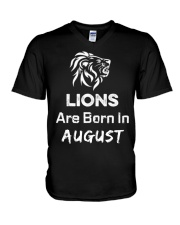 Birthday gift for Lions which are Born in August V-Neck T-Shirt front