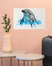 Dolphin watercolor cute poster 17x11 Poster poster-landscape-17x11-lifestyle-21