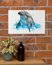 Dolphin watercolor cute poster 17x11 Poster poster-landscape-17x11-lifestyle-23