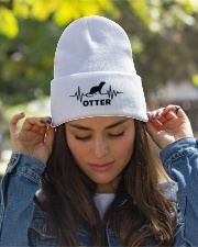 Otter line heart beat knit beanie gifts christmas Knit Beanie garment-embroidery-beanie-lifestyle-07
