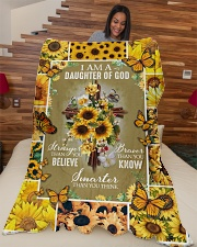 "God - Daughter Of God - Fleece Blanket Large Fleece Blanket - 60"" x 80"" aos-coral-fleece-blanket-60x80-lifestyle-front-04"