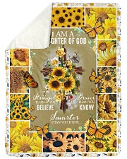 "God - Daughter Of God - Fleece Blanket Large Sherpa Fleece Blanket - 60"" x 80"" thumbnail"