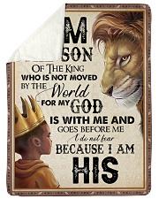 "God - Lion - Son Of The King Large Sherpa Fleece Blanket - 60"" x 80"" thumbnail"
