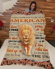 "God - Lion - Proud To Be - Fleece Blanket Large Fleece Blanket - 60"" x 80"" aos-coral-fleece-blanket-60x80-lifestyle-front-04"