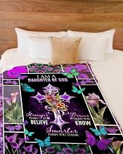 """God - Daughter Of God - Fleece Blanket Large Fleece Blanket - 60"""" x 80"""" aos-coral-fleece-blanket-60x80-lifestyle-front-02"""