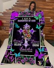 """God - Daughter Of God - Fleece Blanket Large Fleece Blanket - 60"""" x 80"""" aos-coral-fleece-blanket-60x80-lifestyle-front-04"""