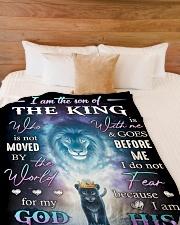 "God - Daughter Of The King - Fleece Blanket Large Fleece Blanket - 60"" x 80"" aos-coral-fleece-blanket-60x80-lifestyle-front-02"
