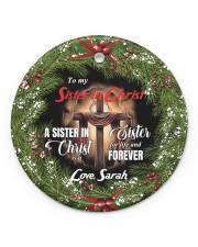 God - Cross - Personalized Circle ornament - single (porcelain) front