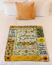 "GOD - SUNFLOWER - GOD SAYS YOU ARE Small Fleece Blanket - 30"" x 40"" aos-coral-fleece-blanket-30x40-lifestyle-front-04"