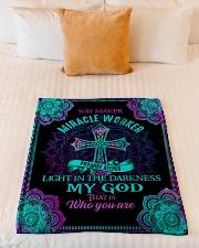 "God - Way Maker - Fleece Blanket Small Fleece Blanket - 30"" x 40"" aos-coral-fleece-blanket-30x40-lifestyle-front-04"