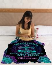 "God - Way Maker - Fleece Blanket Small Fleece Blanket - 30"" x 40"" aos-coral-fleece-blanket-30x40-lifestyle-front-12"