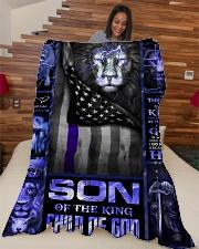 "God - Son Of The King - Fleece Blanket Large Fleece Blanket - 60"" x 80"" aos-coral-fleece-blanket-60x80-lifestyle-front-04"
