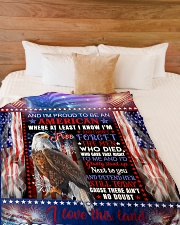 "God - Eagle - Proud To Be - Fleece Blanket Large Fleece Blanket - 60"" x 80"" aos-coral-fleece-blanket-60x80-lifestyle-front-02"