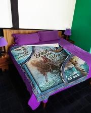 """God - Faith Over Fear - Fleece Blanket Large Fleece Blanket - 60"""" x 80"""" aos-coral-fleece-blanket-60x80-lifestyle-front-01"""
