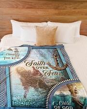"""God - Faith Over Fear - Fleece Blanket Large Fleece Blanket - 60"""" x 80"""" aos-coral-fleece-blanket-60x80-lifestyle-front-02"""