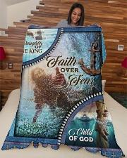 """God - Faith Over Fear - Fleece Blanket Large Fleece Blanket - 60"""" x 80"""" aos-coral-fleece-blanket-60x80-lifestyle-front-04"""