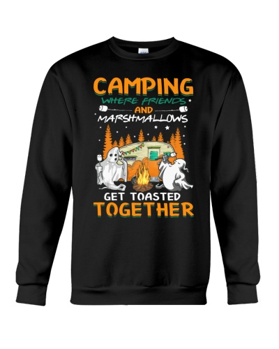 Camping where friends and marshmallows