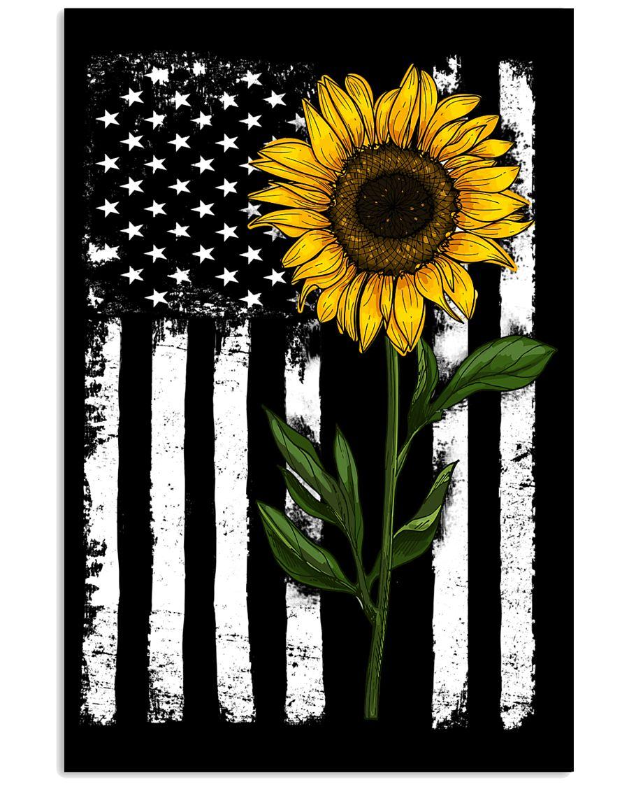 American Flag Sunflower 16x24 Poster