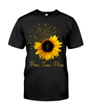 Peace Love Music Sunflower Classic T-Shirt front