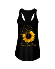 Peace Love Music Sunflower Ladies Flowy Tank thumbnail