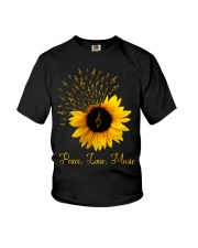 Peace Love Music Sunflower Youth T-Shirt thumbnail